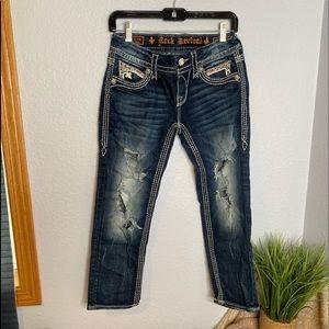 Rock Revival Noelle Capri dark wash jeans size 27
